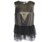 Layered embellished tulle and stretch-silk satin top