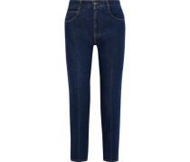 Cropped High-rise Slim-leg Jeans Mid Denim  5