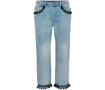Pompom-embellished Slim Boyfriend Jeans Light Denim  8