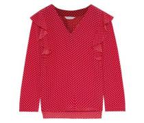Woman Ruffle-trimmed Polka-dot Silk Crepe De Chine Blouse Crimson