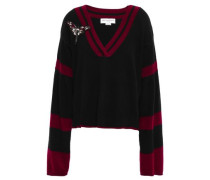 Appliquéd Striped Brushed-cashmere Sweater Black