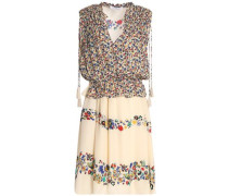 Gathered floral-print silk-chiffon mini dress