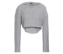 Cropped Cable-knit Cotton-blend Pajama Top Light Gray