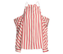 Cold-shoulder striped woven top