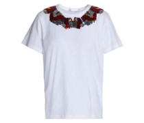 Sequined cotton-jersey T-shirt