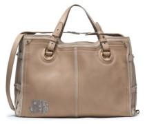Karung-trimmed leather and suede shoulder bag