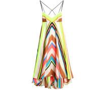Asymmetric striped-jacquard midi dress