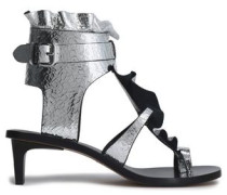 Ruffled metallic cracked-leather sandals