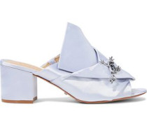 Madelly Appliquéd Gathered Satin Mules Silver