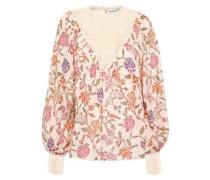 Alina Lace-paneled Floral-print Cotton-gauze Blouse Cream