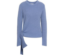 Knotted Ribbed Cotton-blend Sweater Light Blue