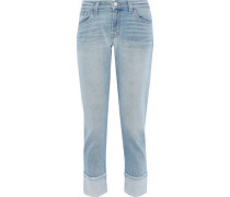 Woman Sadey Slim Straight Cropped Mid-rise Straight-leg Jeans Light Blue