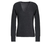 Waffle-knit Cashmere Sweater Dark Gray