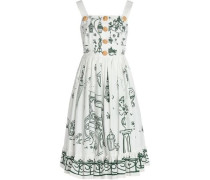 Pleated Printed Cotton-poplin Dress White