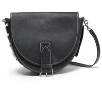 Bike Lace-up Smooth And Textured-leather Shoulder Bag Black Size --