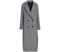 Double-breasted houndstooth tweed coat