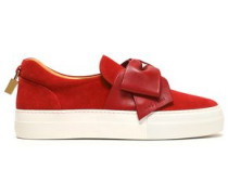 Leather bow-embellished suede slip-on sneakers
