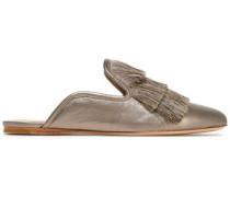 Fringed metallic leather slippers