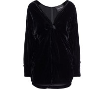 Twist-front Velvet Mini Dress Black