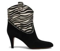 Georgia Studded Suede And Zebra-print Calf Hair Boots Black