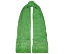 Woman Fringe-trimmed Metallic Crochet-knit Scarf Green