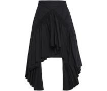 Asymmetric Gathered Cotton Skirt Black Size 12