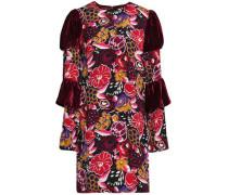 Paneled velvet and printed silk mini dress