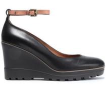 Oslo Leather Wedge Pumps Black