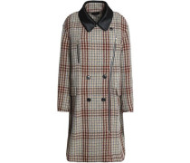 Calf hair-trimmed checked wool coat