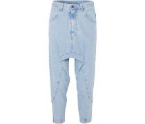 Woman Super Lo Slung Cropped Jeans Light Denim