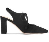 Bow-detailed Suede Slingback Pumps Black
