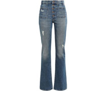 Distressed Faded High-rise Flared Jeans Mid Denim  5