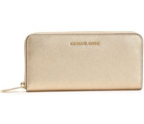 Jet Set Metallic Textured-leather Continental Wallet Gold Size --