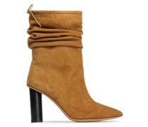 Gathered suede ankle boots