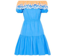 Pallas off-the-shoulder cutout embroidered cotton-poplin dress