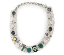 Silver-tone, Agate And Crystal Choker Silver Size --
