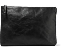 Textured-leather Pouch Black Size --