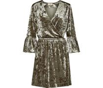 Riley crushed-velvet mini wrap dress