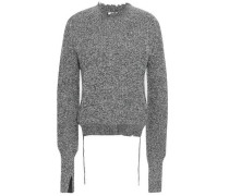 Distressed Cotton-blend Sweater Gray