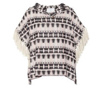 Addition fringed hooded cotton-blend tweed top