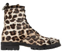 Lace-up Leopard-print Calf Hair Ankle Boots Animal Print