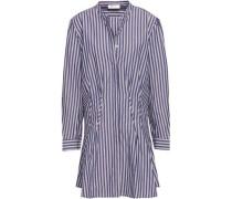 Striped Cotton-poplin Mini Shirt Dress Indigo