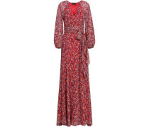 Wrap-effect Floral-print Silk-georgette Maxi Dress Red Size 0