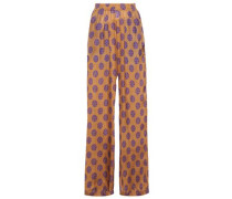 Woman Printed Silk Wide-leg Pants Camel