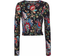 Delaina Cropped Floral-print Stretch-jersey Top Black