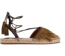 Pocahontas leather-trimmed suede espadrilles