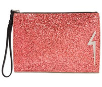 Woman G-glitter Appliquéd Glittered Leather Pouch Bubblegum