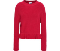 Ruffle-trimmed Ribbed Cotton Sweater Claret