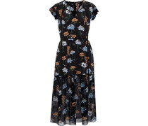 Belle printed silk and georgette midi dress