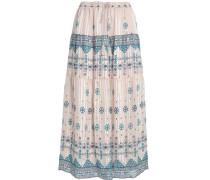Tasseled printed silk-blend midi skirt